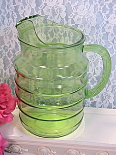 Vintage Green Depression Glass Ringed Pitcher Anchor Hocking