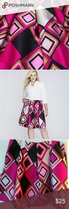 Lane Bryant Box Pleated Circle skirt, NEW! Fun & flirty pink and purple patterned skirt! 100% Polyester; rear zipup; double layered waistband for smoother slim fit Lane Bryant Skirts Circle & Skater