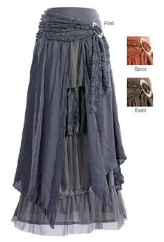 Skirts - Layered Skirt with Brooch