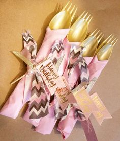 Wild One Party Flatware, Young Wild and Three Party, Tribal Party Decor, Girl Birthday Decorations, Girl Birthday Banner, Pink and Gold by ArchieAndAndi on Etsy https://www.etsy.com/listing/517813290/wild-one-party-flatware-young-wild-and