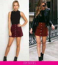 Looks femininos, saias saias jeans, look saia jeans, look com Spring Outfits, Trendy Outfits, Fashion Outfits, Womens Fashion, Look Fashion, Autumn Fashion, Denim Skirt Outfits, Button Up Skirt Outfit, Pinterest Fashion