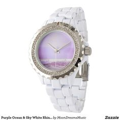 Purple Ocean & Sky White Rhinestone Watch by #MoonDreamsMusic #WhiteRhinestoneWatch #PurpleOceanAndSky