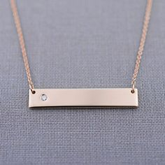Large Solid 14K Rose Gold Diamond Bar Necklace | gift for her | #rosegold #lilyemme