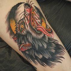 Wolf Tattoo by Jesper Jørgensen Wolf Tattoo Traditional, Traditional Tattoo Old School, Wolf Tattoo Sleeve, Sleeve Tattoos, Fox Tattoos, Flash Tattoos, Lion Tattoo, Tattoo Ink, Werewolf Tattoo