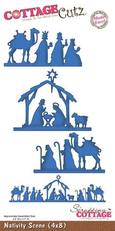 Cottage Cutz - Die - Nativity Scene-Approximate Assembled Size: W x Christmas Yard Art, Christmas Nativity Scene, Noel Christmas, Christmas Projects, All Things Christmas, Christmas Decorations, Xmas, Christmas Ornaments, Nativity Scenes