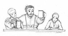 Jack/ Ike/ Saba/ fanart/ Jack and Ike drink to Molly Pratt; Saba wonders who Molly Pratt is.