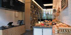 Amaison Gourmet Shop in Amsterdam Bakery Cafe, Cafe Restaurant, Restaurant Design, Amsterdam Shopping, Farm Shop, Gala Dinner, Concrete Design, Store Design, Deli