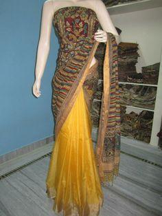 Kalamkari saree Kalamkari Saree, Silk Sarees, Saris, Georgette Sarees, Ethnic Sarees, Indian Sarees, Indian Dresses, Indian Outfits, Beautiful Saree