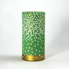 boite à thé washi - pluie de fleur - verte