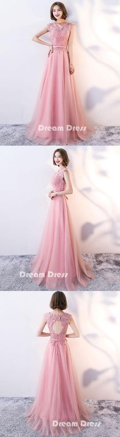 Pink lace long prom dress, pink evening dresses,PD280014 #promdresses #shopping #fashion #dresses #evening
