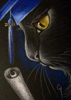 """""""Black Cat Katze and Graduation 2008"""" par Cyra R. Cancel"""