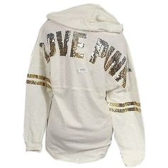 Pre-owned Victorias Secret Pink Bling Sequin Hoodie Off-white Varsity... ($134) ❤ liked on Polyvore featuring tops, hoodies, shirts, jackets, sweaters, ivory, ivory shirt, graphic hoodies, sweatshirt hoodies and oversized hoodie
