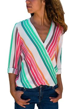 21802668283 Colorful Stripe Long Sleeve V Neck Shirt