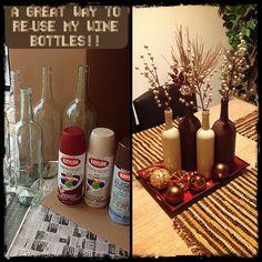 My own wine bottles DIY #winebottles #spraypaint