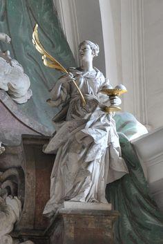 St Agatha of Siciliy | http://saintnook.com/saints/agathaofsicily/ | Weingarten Hochaltar Figur rechts.jpg