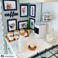 Coffee Bar at home - Ideas for a coffee shop at home Coffee . - Coffee Bar at home – Ideas for a coffee shop at home Coffee Bar at home – Ideas for a coffee shop at home Coffee Bars In Kitchen, Coffee Bar Home, Coffee Corner, Coffee Shop, Kitchen Dining, Kitchen Decor, Coffe Bar, Coffee Bar Station, Home Coffee Stations