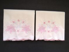 Vintage PAIR Standand Pink Embroidered Appliqued Pillowcases Pink White Bedding