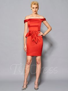 Off-the-Shoulder Sheath Sashes Knee-Length Cocktail Dress