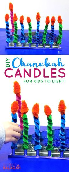 Make these Chanukah candles for kids to keep them safe when lighting the menorah. Make these Chanukah candles for kids to keep them safe when lighting the menorah! This fun Hanukkah Hanukkah For Kids, Feliz Hanukkah, Hanukkah Crafts, Jewish Crafts, Hanukkah Candles, Christmas Hanukkah, Hannukah, Kwanzaa, Christmas Crafts