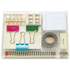 Kate Spade new york Tackle Box   (Cute clips, tape, pencils, and eraser and a sharpener, amongst other gorgeous bits!!)
