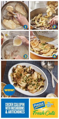 PERDUE® FRESH CUTS™ Thin Sliced Chicken Breasts, artichokes, mushrooms, and a few cooking staples, voilà – a tasty meal in a snap! Turkey Recipes, Chicken Recipes, Great Recipes, Dinner Recipes, Favorite Recipes, Chicken Scallopini, Thin Sliced Chicken, Healthy Ground Turkey, Crockpot Recipes