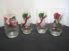 4 Coca Cola Holly Hobbie Christmas Glasses Love Joy Cat Holly Robbie Tumblers #AmericanCreetingsCocaCola