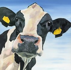 Open Edition print of a Nosey Friesian Holstein Cow by York artist Lauren Terry. A curious cow to bring a smile. Cow Paintings On Canvas, Animal Paintings, Canvas Art, Cow Tattoo, Cow Illustration, Cow Drawing, Holstein Cows, Cow Art, Cute Cows