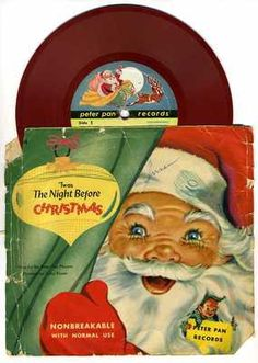 Vintage Christmas Record ~ 'Twas The Night Before Christmas 78 RPM Peter Pan Record ©1953