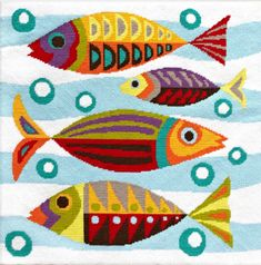 Doesn't the sight of these retro style fish just fill you to the gills with  joy? Swimming through the current, showing off their bright geometric  designs, they are certain to catch anyone's attention. Make this adorable  aquatic design into a cushion, or frame and hang on the wall - whatever yo