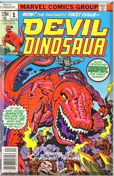 "Devil Dinosaur and his inseparable ape-like friend, Moon-Boy, are natives of ""Dinosaur World"", a version of Earth in a parallel universe where dinosaurs co-exist with tribes of primitive humanoid beings. 1st printing. Jack Kirby script and art. Only $10.99 with Free Shipping!"