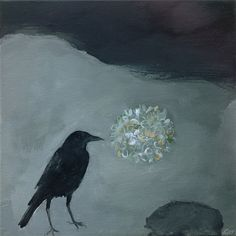 """""""A black crow explores a night garden...a different territory, a different narrative....holds a delicate hydrangea head, respecting it's beauty and fragility."""" by tintabernacle"""
