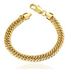 Men's 18K Gold Plated Brass Link Bracelet with Lobster Lock
