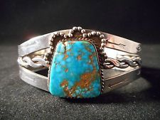 Fabulous SPIDERWEB TURQUOISE Sterling Silver Navajo old pawn Bracelet Vintage