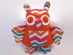 Chevron owl is so bright and cheery! A person cant help but smile! A beauty, and the only one of its kind. 8 tall from ear tuft to toe, with a wingspan of 8  Cosmos Critters are pretty happy to be anywhere around people. They are wonderful Office Critters and are sure to the perfect addition for any cubicle, workstation or nursery. They are also quite happy to be a part of a loved collection. All of Cosmos Critters are OOAK, and can be made in any color combination you may choose. Many…