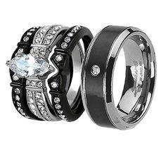 His Hers 4Pcs Black Titanium CZ Matching Band Women Bride IP Stainless Steel Wedding Engagement Ring Set