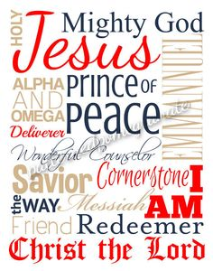#Christian #Typography #Printable Sign by #patternedpomegranate #namesofGod #christmasdecor #castteam