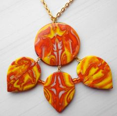 Two sided colorful polymer clay necklace orange yellow by MelLuk, $17.00