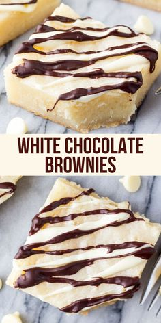 Fudgy, gooey white chocolate brownies are heaven in brownie form. If you love white chocolate - this recipe is for you. Lots of tips for fudgy brownies. Homemade Desserts, Easy Desserts, Delicious Desserts, Yummy Food, Tasty, Health Desserts, Homemade Brownies, Easy Snacks, Brownie Recipes