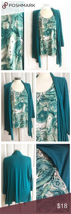 JM Collection Teal Cardigan Shirt plus size Attached top. Front has beautiful design with attached open cardigan look. Flowly cardigan in front for a flattering look. 3/4 sleeve. Stretch to fabric 95% rayon 5% spandex. Size 1X. JM Collection Tops