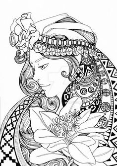 Mujer Mapuche by lucressia on DeviantArt Coloring Book Art, Colouring Pages, Adult Coloring Pages, Mandala Pattern, Mandala Design, Day Of The Dead Artwork, Art Room Posters, Art Pictures, Art Drawings