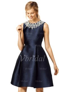Cocktail Dresses - $139.77 - A-Line/Princess Scoop Neck Knee-Length Satin Cocktail Dress With Beading Bow(s) (0165093221)
