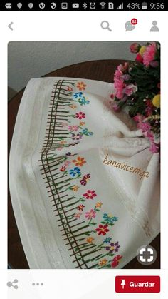 This Pin was discovered by Şen Towel Embroidery, Silk Ribbon Embroidery, Hand Embroidery Designs, Embroidery Applique, Cross Stitch Embroidery, Embroidery Patterns, Cross Stitch Borders, Cross Stitch Samplers, Cross Stitch Flowers