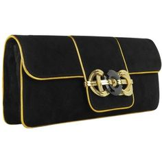 Ralph Lauren Collection Black and Gold Suede Clutch ($1,092) ❤ liked on Polyvore featuring bags, handbags, clutches, suede purse, long handbags, black and gold purse, art deco purse and black gold handbag