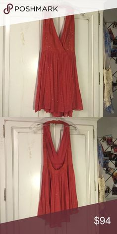 Coral sequined halter dress Like new condition. Worn once. Beautiful sequins and beading. Fully lined. Chelsea & Violet Dresses