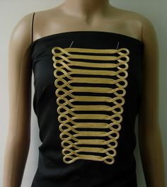 MR163 Gold Metallic Trapezoid Loops Corded Braided Applique