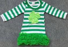 St. Patrick's Day Green and White Stripe Shamrock Dress