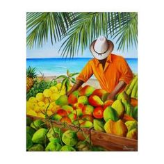 Manuel the Caribbean Fruit Vendor Art Print by Dominica Alcantara. All prints are professionally printed, packaged, and shipped within 3 - 4 business days. British Colonial Style, Multnomah Falls, Thing 1, Texture Design, Beach Art, All Print, Fine Art America, Giclee Print, Caribbean