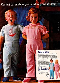 1969 ad for Carter's kids' clothes featuring a very young Brooke Shields