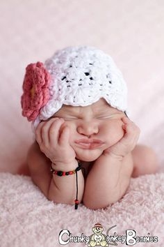 Baby Girl Hat 0 to 3 Months Crochet Baby by ChunkyMonkeyBeanies, $20.00