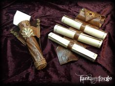 Set of belt accessories designed for a mage. Handworked leather with brass metal and Swarovski decorations. LARP EQUIP: Mage belt accessories I by FantasyForgeLARP